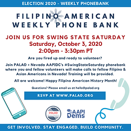 October 3 - Phonebank - Swing State Satu