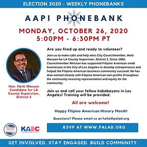 October 26 - PALAD + KADC Phonebank - HW