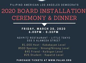 March 20, 2020 PALAD Board Installation