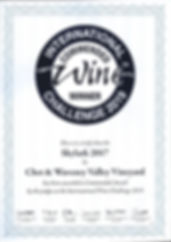 IWC commendation for Skylark 2017 Charmat method sparkling wine