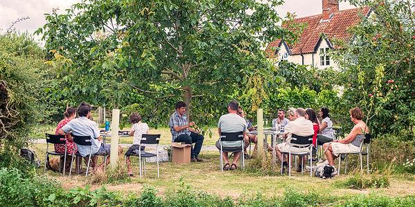 Wine tasting at Chet Valley Vineyard under the walnut tree
