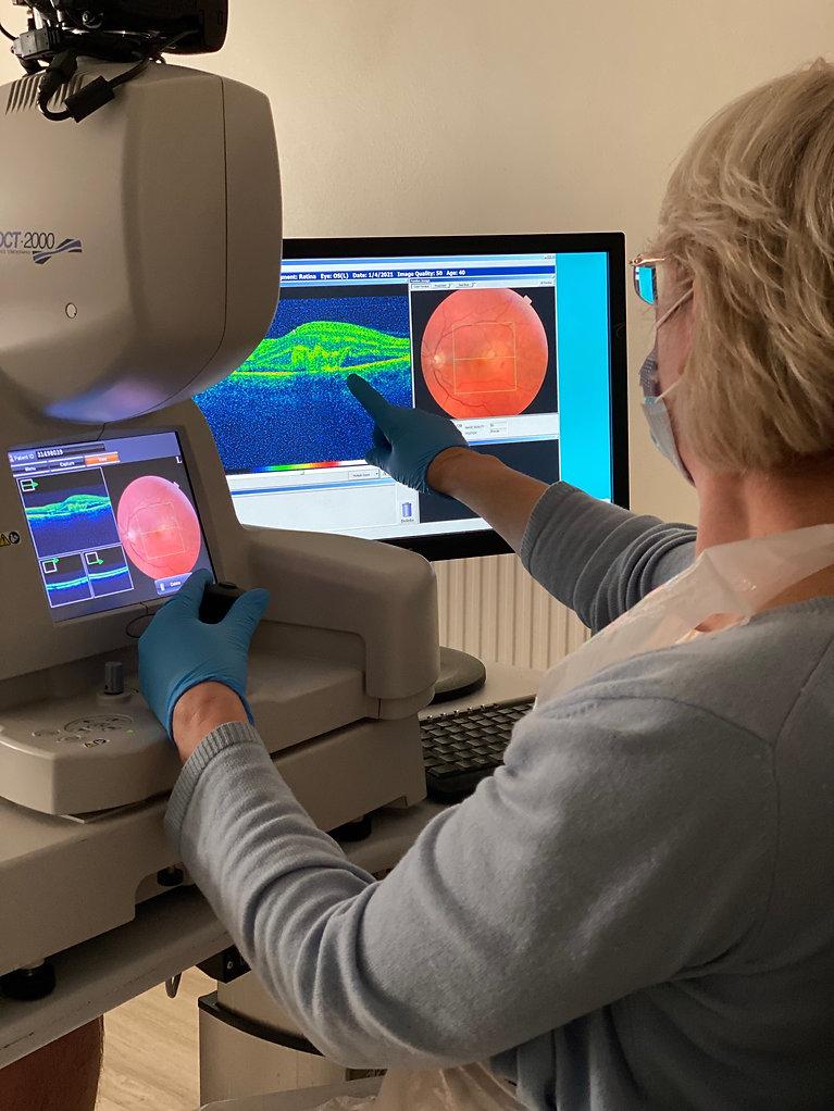 Bridget Hemmant checking and OCT retinal eye scan