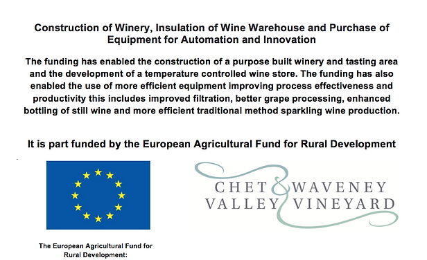 Chet and Waveney Valley Vineyard was awarded a European Agriculural fund grant for rural development