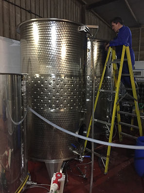 Vats in the winery at Chet Vineyard
