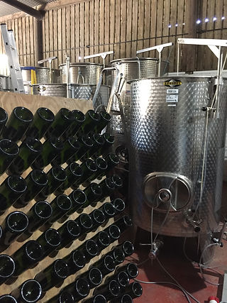 Vats and bottles in winery