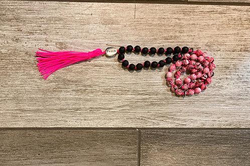 Kids Mala Necklace - Black/Pink Peace