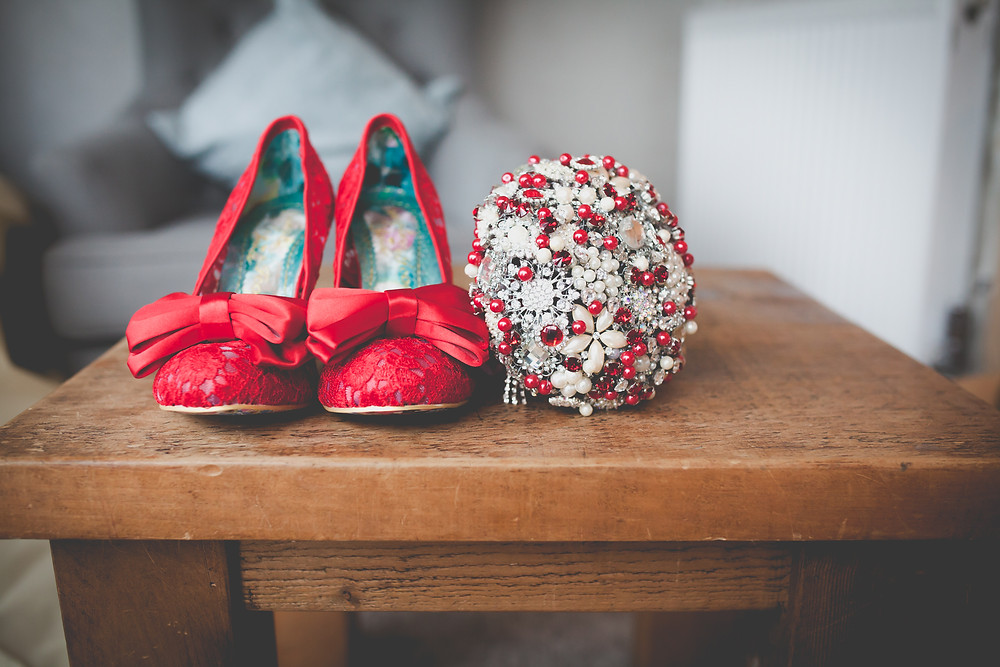 rockabilly wedding, red wedding shoes, brooch bouquet