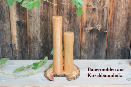 Drechslerei Bauer Salz- und Pfeffermühlen aus Kirschbaumholz