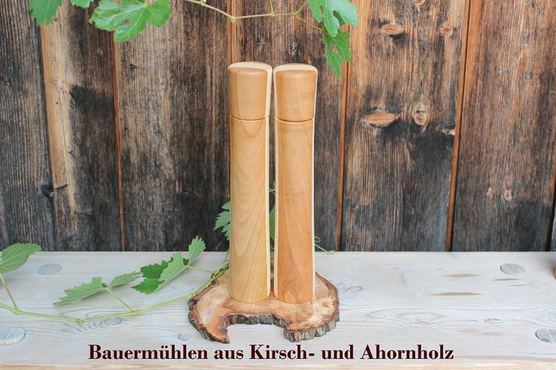 Drechslerei Bauer Salz- und Pfeffermühlen aus Kirsch- und Ahornholz