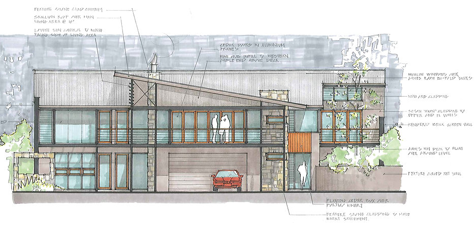 Southwest architect designed residence, with a skillion roof design.