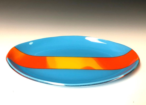 Cyan with Orange and Marigold Stripe Plate
