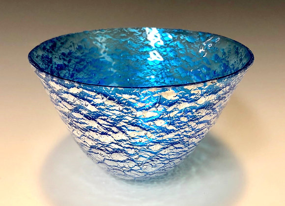 Turquoise with Silver Foil Inclusion Medium Drop Bowl