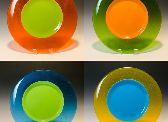 "13"" Colorblock Plates Set of 4"