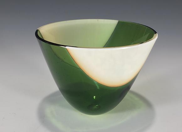 Vanilla with Green Stripe Small Bowl