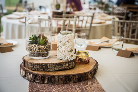 Hurricane Vase, Macrame Jar and Log Slices