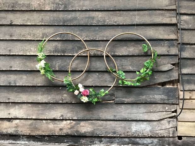 Gold Floral Hoops