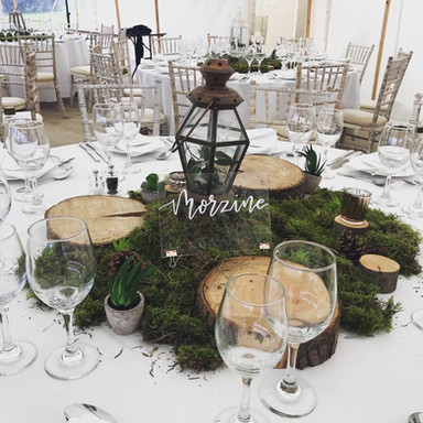 Moss Centrepiece with Log Slice Platters