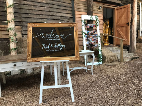 Welcome Mirror and White Easel