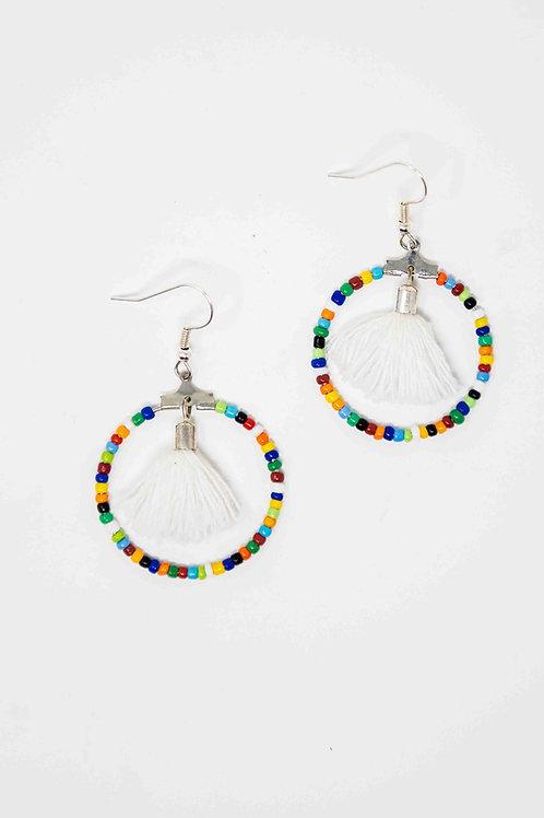 Beaded Tassel Hoop Earrings - Multicolour