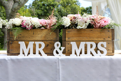Pallet Crates and Mr & Mrs Sign
