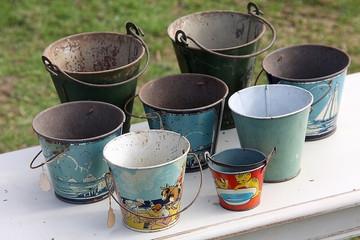 Vintage Metal Buckets