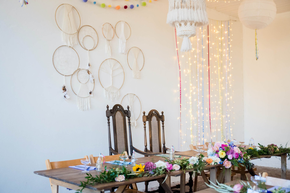 Rustic Thrones and Dreamcatcher Wall