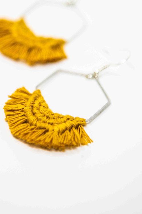 Macramé Hexagon Earrings 'Crescent'