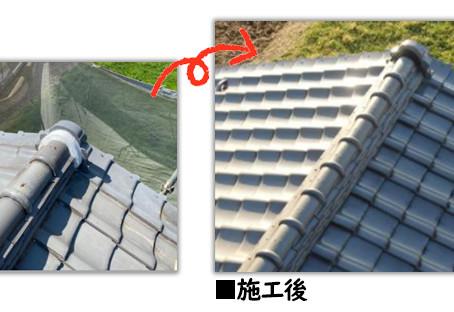 [足立区梅田]台風被害で雨樋が破損!交換工事と一緒に棟瓦取り直し工事も行いました!