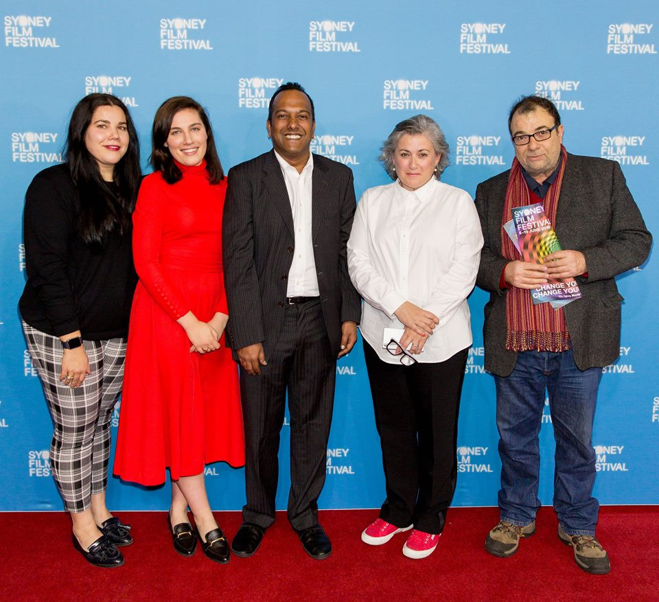 Producer Georgia Humphreys, Actor Maria Humphreys, Festival Director Nasheen Moodley, writer/director Marion Pilowsky, actor Tiriel Mora on the SFF red carpet!