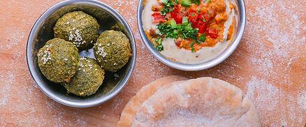 Falafel, Fava Bean, and Pita bread