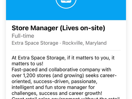 Store manager at Extra Space, rent-free apartment included!