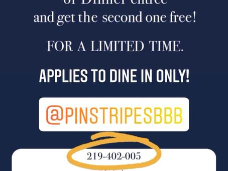 Pinstripes BOGO deal