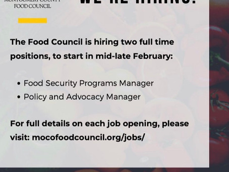 The MoCo Food Council is Hiring!