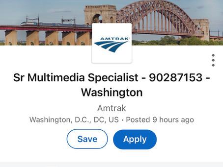Job: multimedia specialist at Amtrak