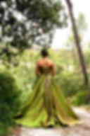 Robe de mariée Quiqui Lamothe bustier vert nature grande jupe romantique en soie sauvage