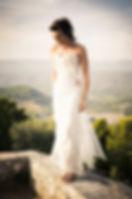 Robe de mariée dentelle Quiqui Lamothe bustier organza bohème, photo Médéric de Bleu Citron Prod