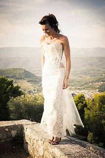 Robe de mariée Quiqui Lamothe bustier organza plastron dentelle bohème et sa jupe en dentelle