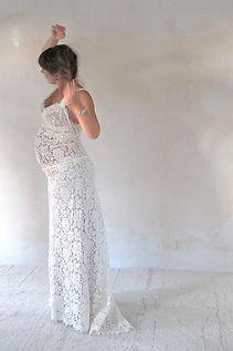 Robe de mariée bohème Quiqui Lamothe dentelle pour femme enceinte