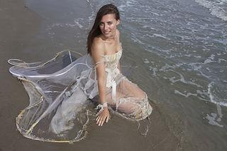 Robe de mariée de createur inspiratieau water organza sable et svarovski, créatrice Quiqui Lamothe
