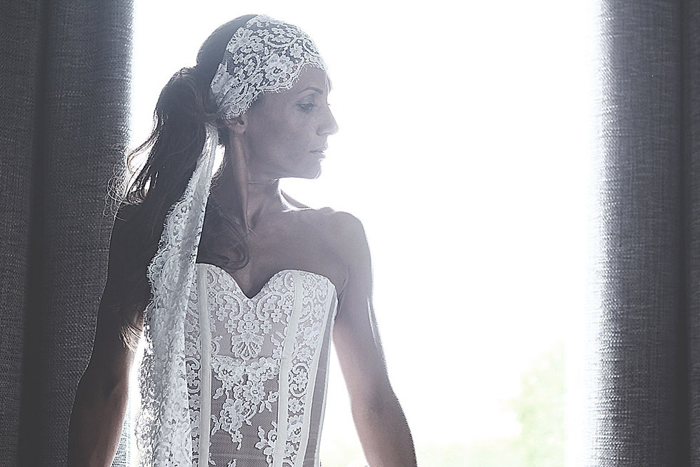 Robe de mariée Quiqui Lamothe bustier en organza plastron dentelle