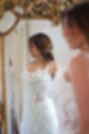 Robe de mariée bohème Quiqui Lamothe bustier dentelle effet plumes hippie chic
