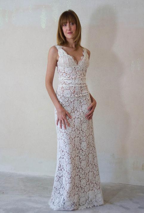 Robe de mariées dentelle Vintage Quiqu Lamothe boutonnée dos