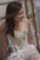 Robe de mariée bustier de créateur, inspiration eau water svarovski sable Quiqui Lamothe