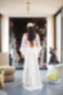 Robe de mariée dentelle bohème andalouse Quiqui Lamothe dos nu fini par un fin laçage et des petits boutons en soie