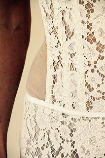 Bustier de mariée Quiqui Lamothe transparent, en organza plastron dentelle