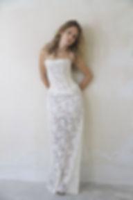 Robe de mariée dentelle Quiqui Lamothe en dentelle de calais longilogne à bustier