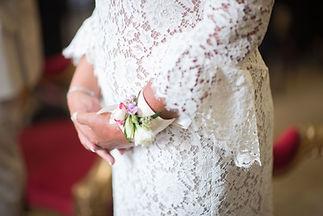 Robe de mariée bohème Quiqui Lamothe en dentelle de calais coton manches