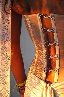 Bustier Quiqui Lamothe transparent de mariée en organza, dos à agrafes