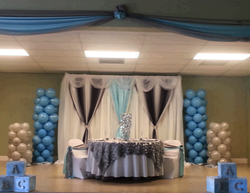 Elegant Baby Shower..View of Headtable w..Backdrop