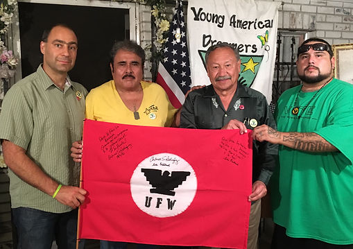 Left to Right  Giev Kashkooli - UFW Vice President   Hilario Barajas - YAD Board Chair  Arturo Rodriguez - UFW President   Daniel Barajas - YAD Executive Director   At YAD Headquarters in Auburndale, FL on November 2nd, 2016